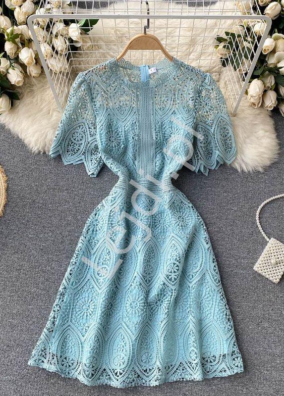 Gipiurowa letnia sukienka z koronki turkusowa 1920 - Lejdi