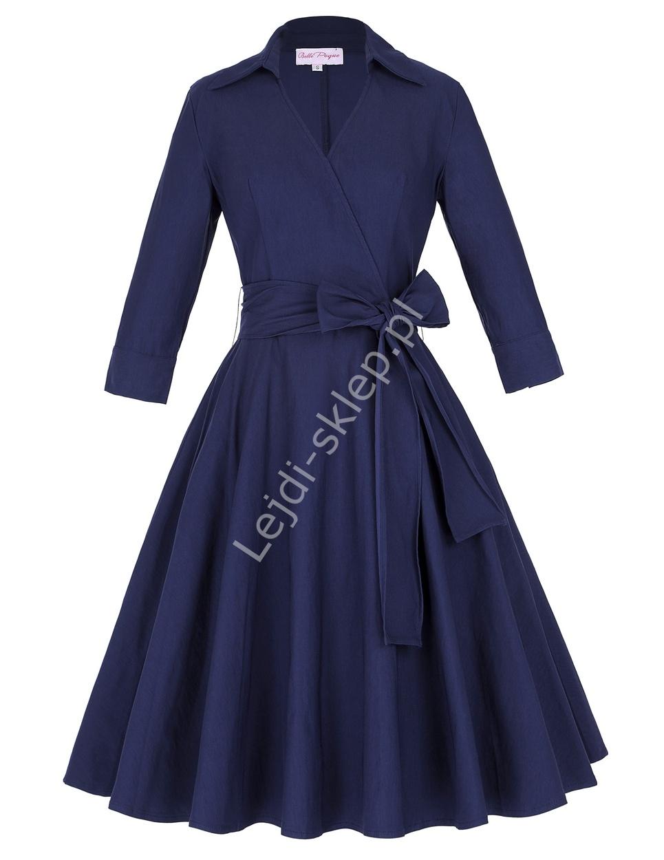 Granatowa bawełniana sukienka w stylu retro | sukienka lata 60-te z kopertowym dekoltem - Lejdi