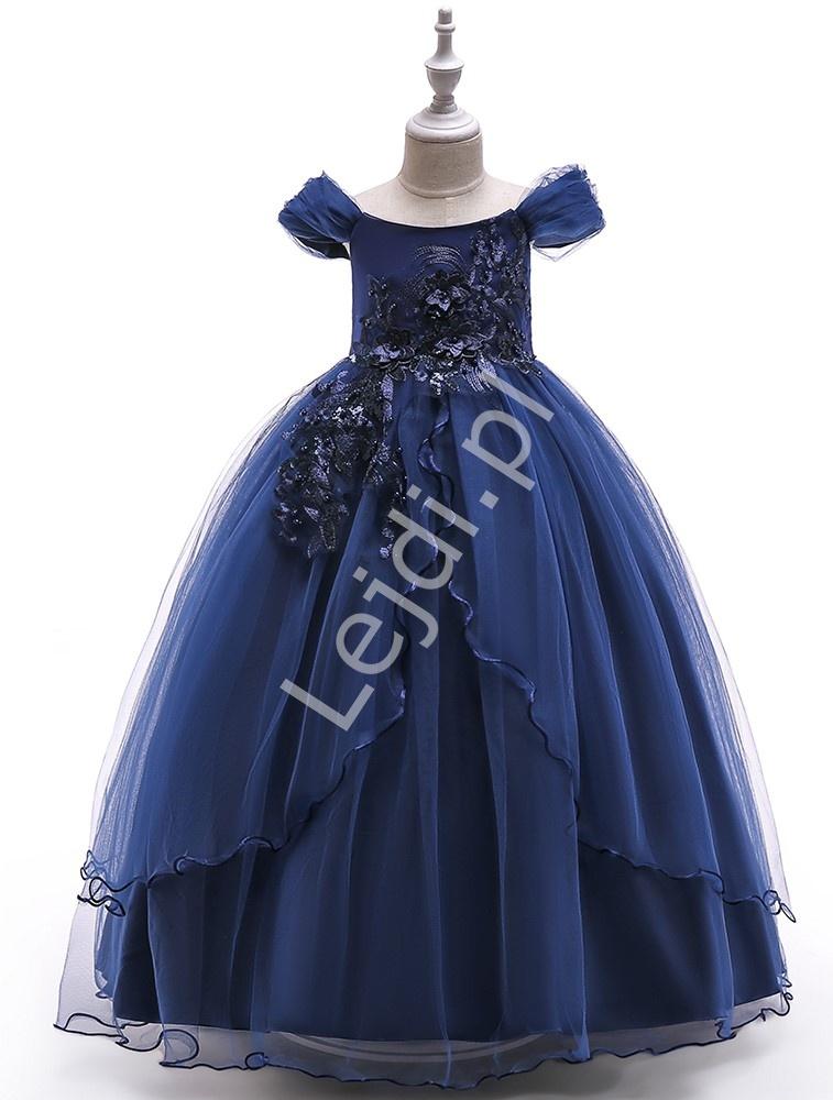 Granatowa długa suknia dla dziewczynki na wesele, bal 213 - Lejdi
