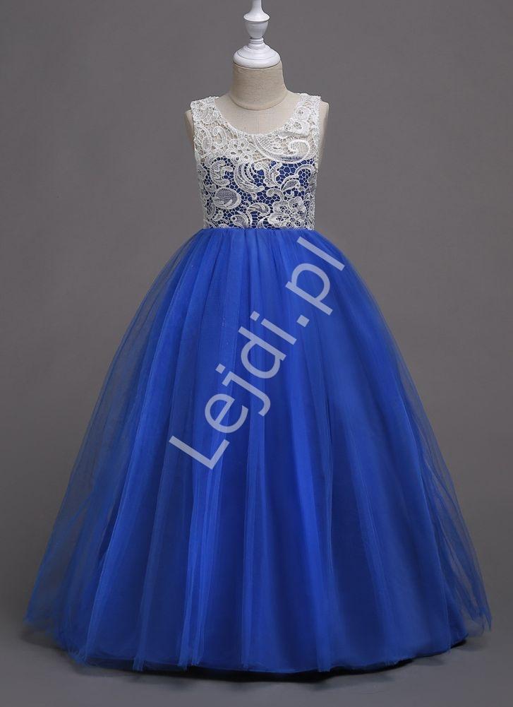 Granatowa długa suknia dla dziewczynki tiulowa z białą koronką na dekolcie 007 - Lejdi