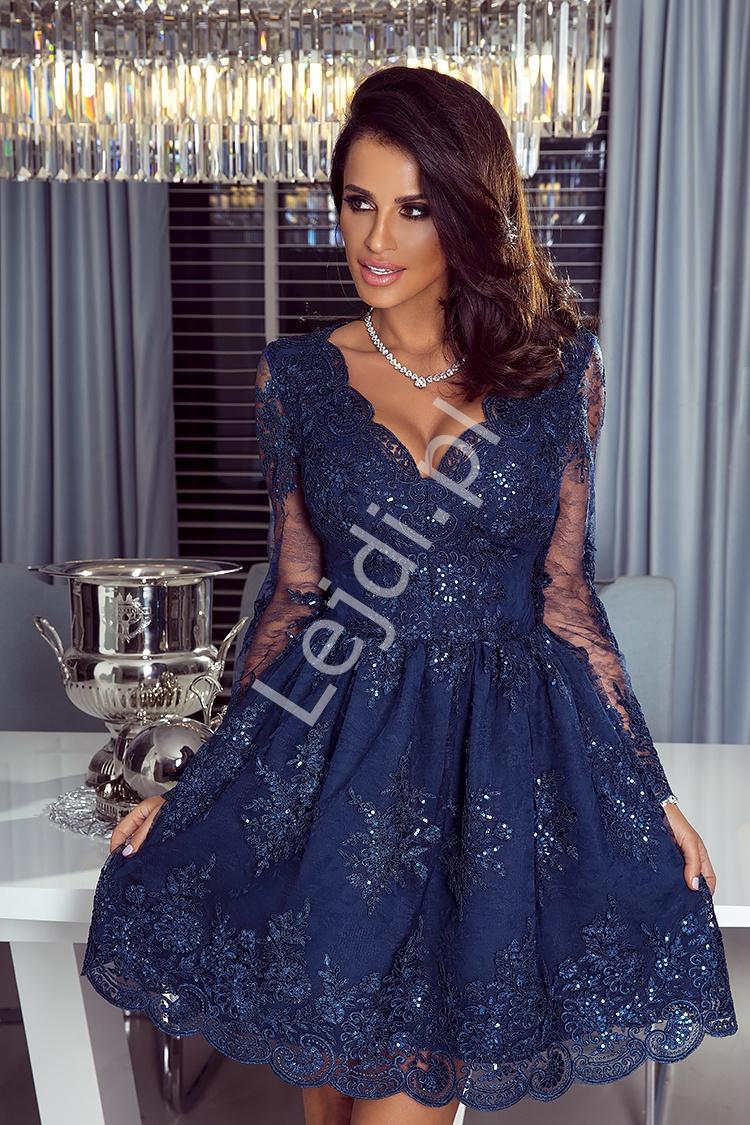 Granatowa koronkowa sukienka Amelia - Lejdi