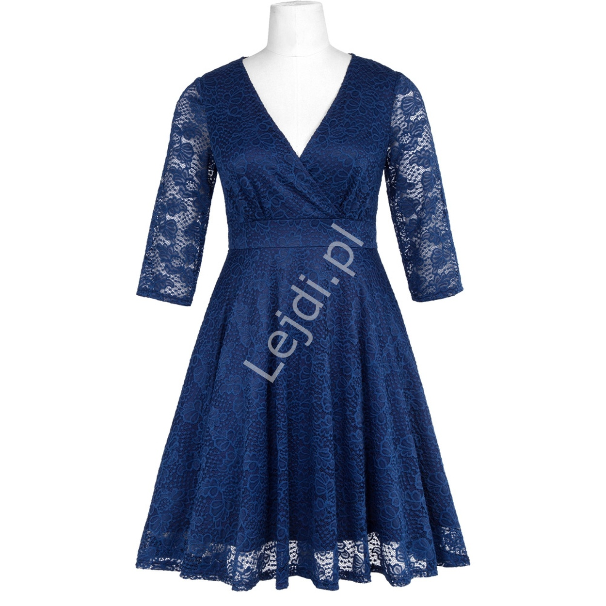 2666020ff4 Granatowa koronkowa sukienka z rękawkiem 3 4