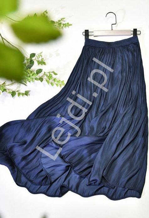 Granatowa połyskliwa spódnica damska 2367 - Lejdi