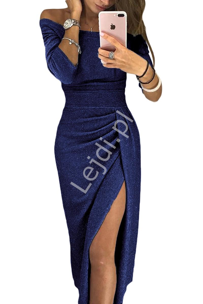 Granatowa połyskująca sukienka seksownie opinająca ciało 566 - Lejdi