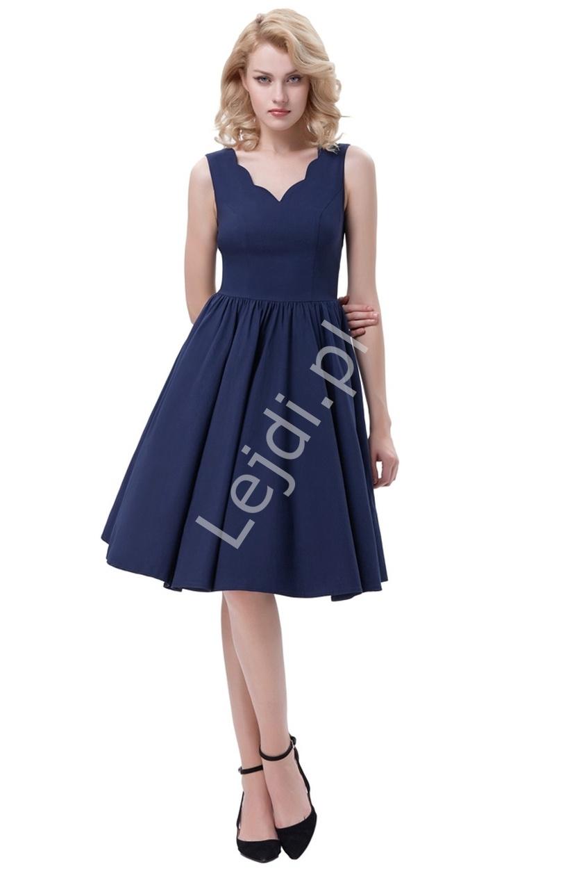 Granatowa rozkloszowana sukienka w stylu pin up na wesele - Lejdi