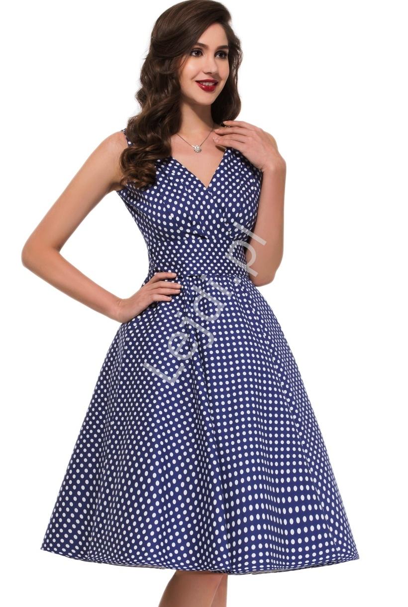 Granatowa rozkloszowana sukienka w kropki | sukienka pin up na wesele 6295-2 - Lejdi