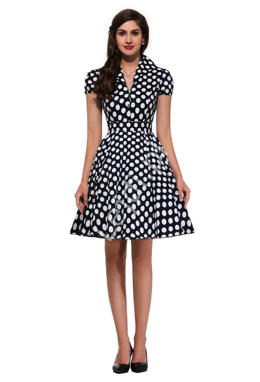 Granatowa rozkloszowana sukienka w białe duże kropki, pin up na wesele 6089-1 - Lejdi
