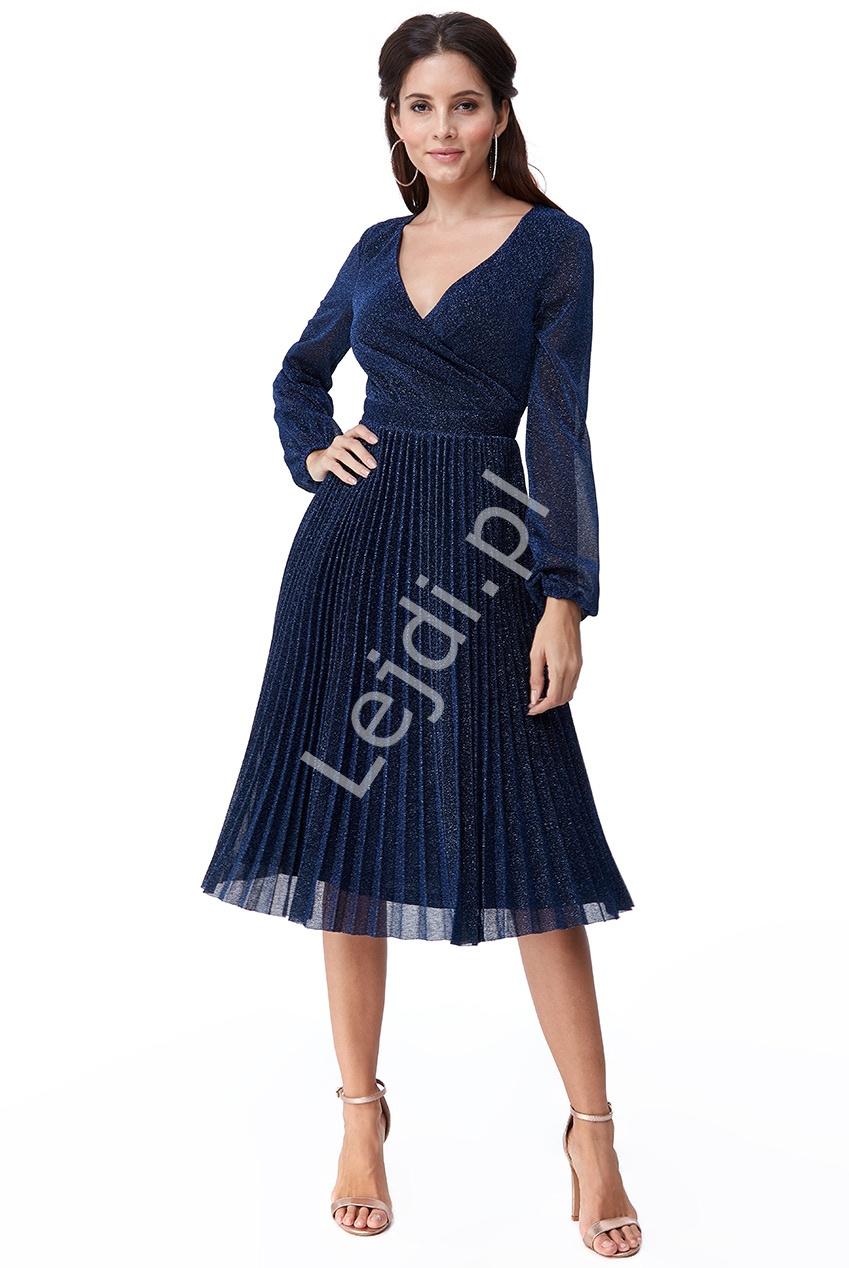 Granatowa sukienka plisowanka z lureksu mieniącymi się opiłkami 2410 - Lejdi