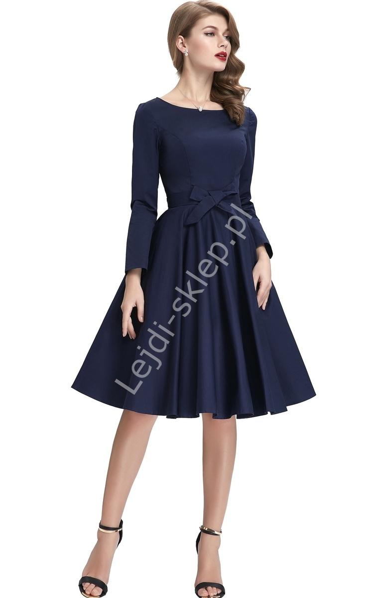 Granatowa sukienka w stylu retro, Grace Kelly | sukienka lata 60-te, 70-te, 80-te - Lejdi