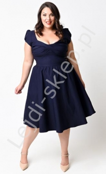 Granatowa sukienka w stylu pin-up PLUS SIZE, swingdress