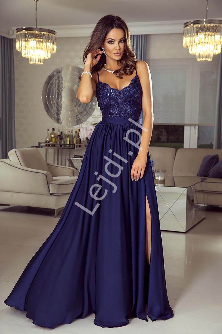 fe4f61b2a4 Granatowa suknia wieczorowa na studniówkę lub wesele