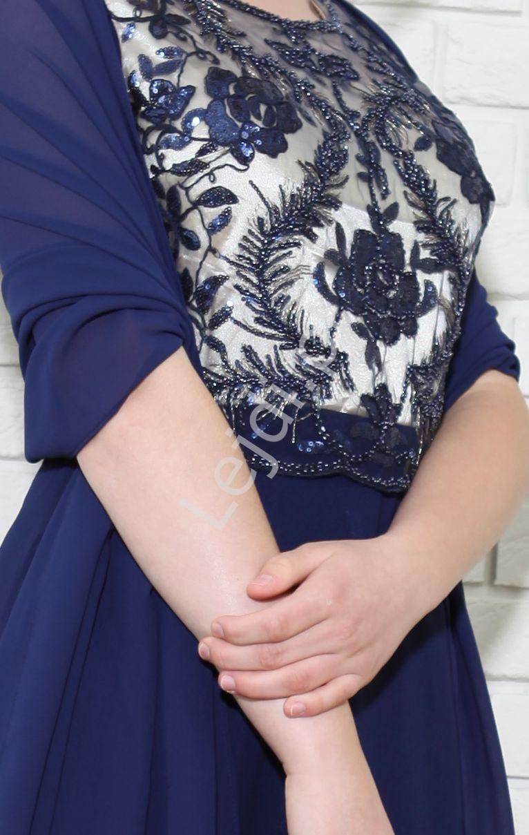 Granatowa suknia z cekinowymi wzorami, 1987 - Lejdi
