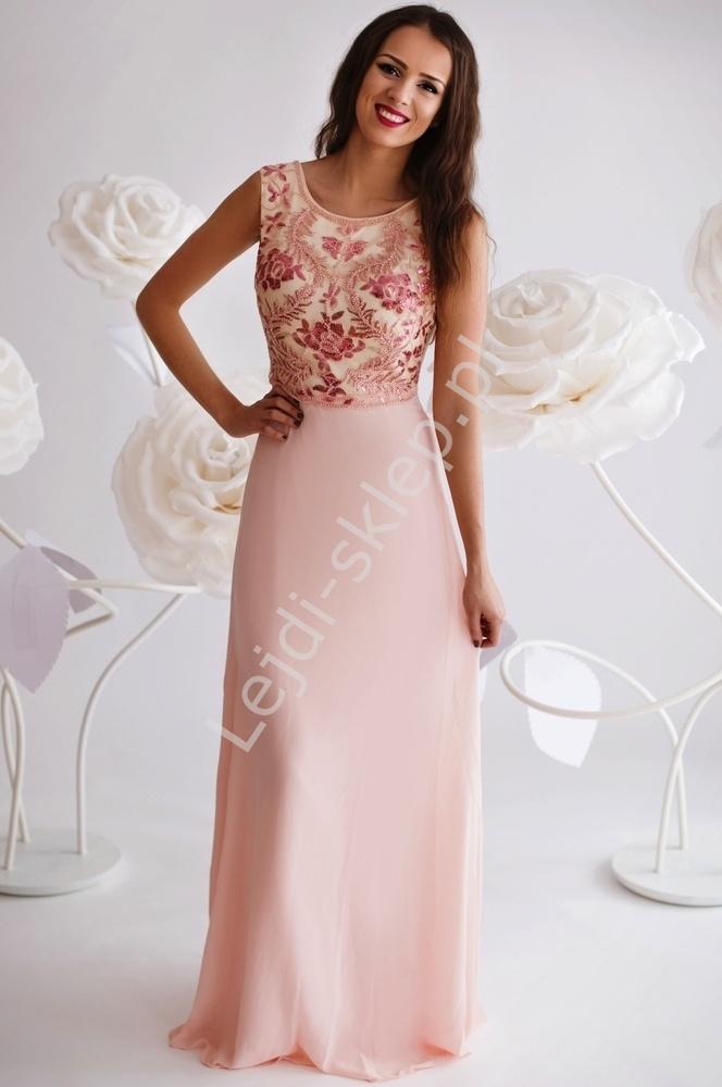 Granatowa suknia z cekinowymi wzorami - Lejdi
