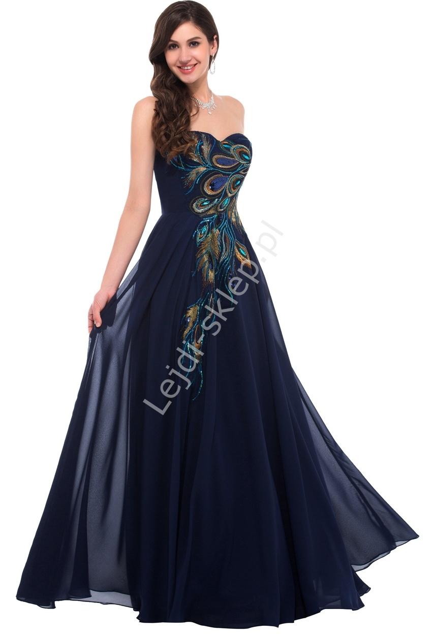 Granatowa szyfonowa suknia z pawimi piórami | granatowe suknie wieczorowe na studniówkę, sylwestra, karnawał - Lejdi