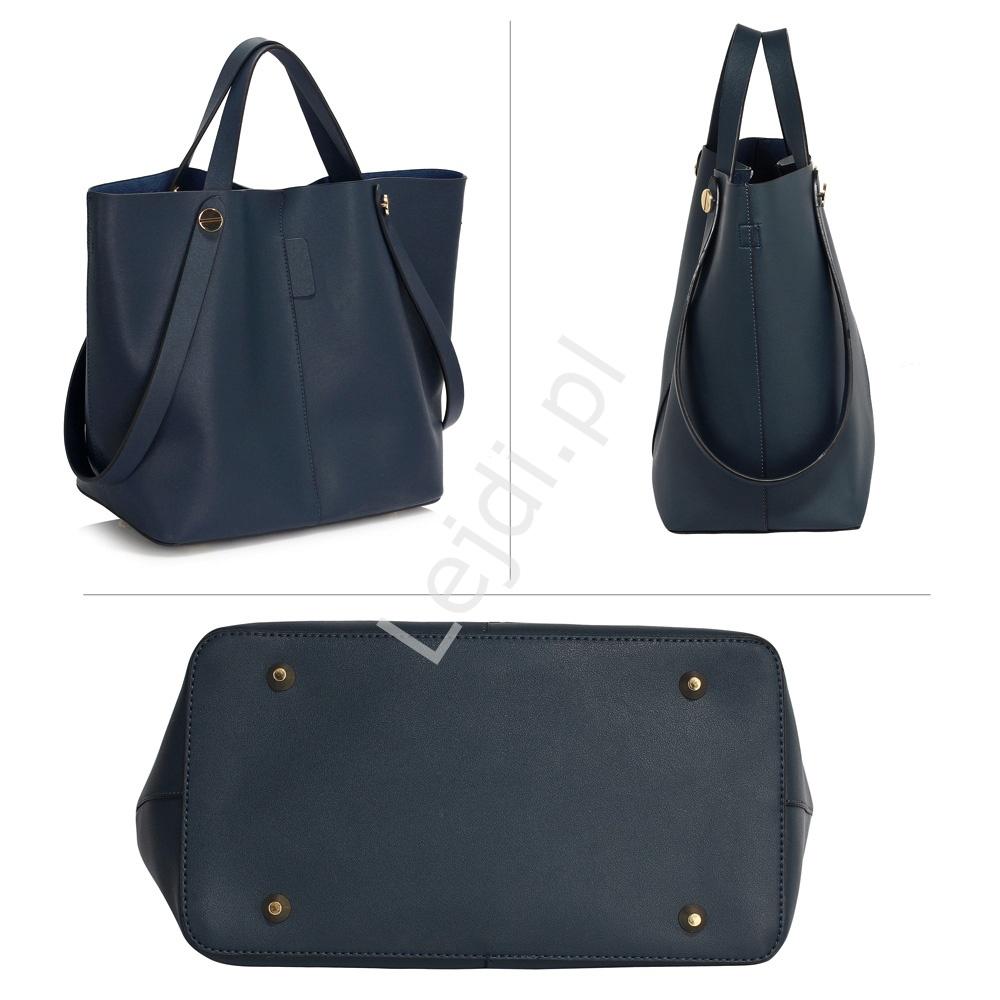214d660dcef3f Granatowa torebka typu shoper bag + na ramię 2w1 - Lejdi.pl