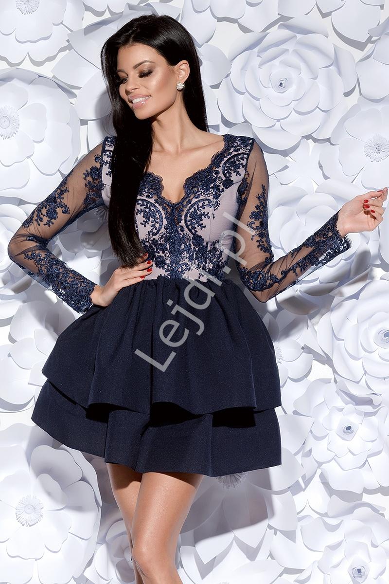Granatowa zjawiskowa sukienka wieczorowa w długi rękaw | krótka rozkloszowana sukienka 2132-11 - Lejdi