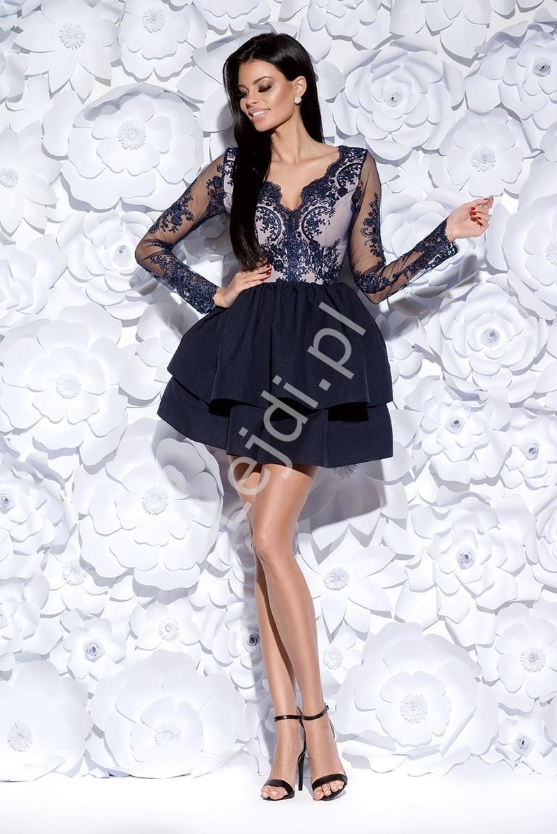 0ad2d653d6 Granatowa zjawiskowa sukienka wieczorowa w długi rękaw
