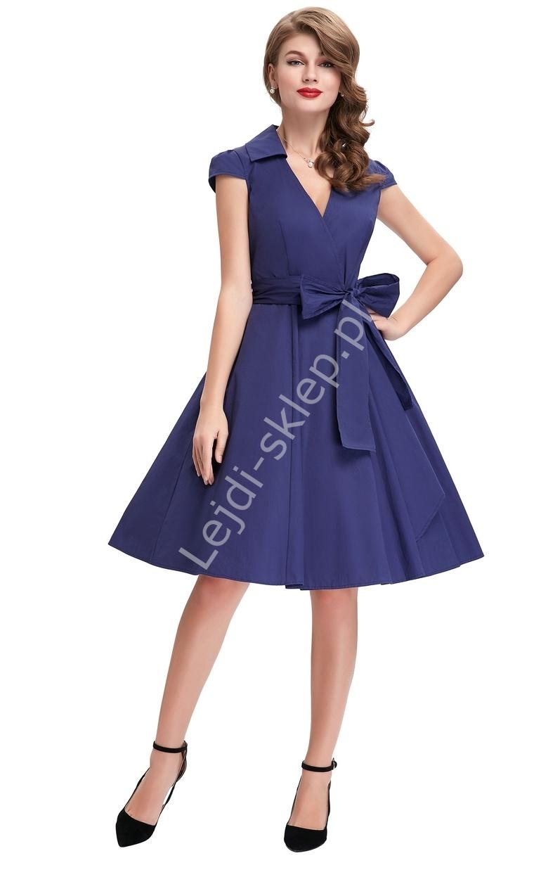 02a2457944 Granatowa bawełniana sukienka w stylu retro- lata 60-te