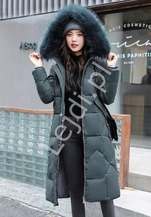Granatowo szary płaszcz pikowany, gruba kurtka zimowa 9777 - Lejdi