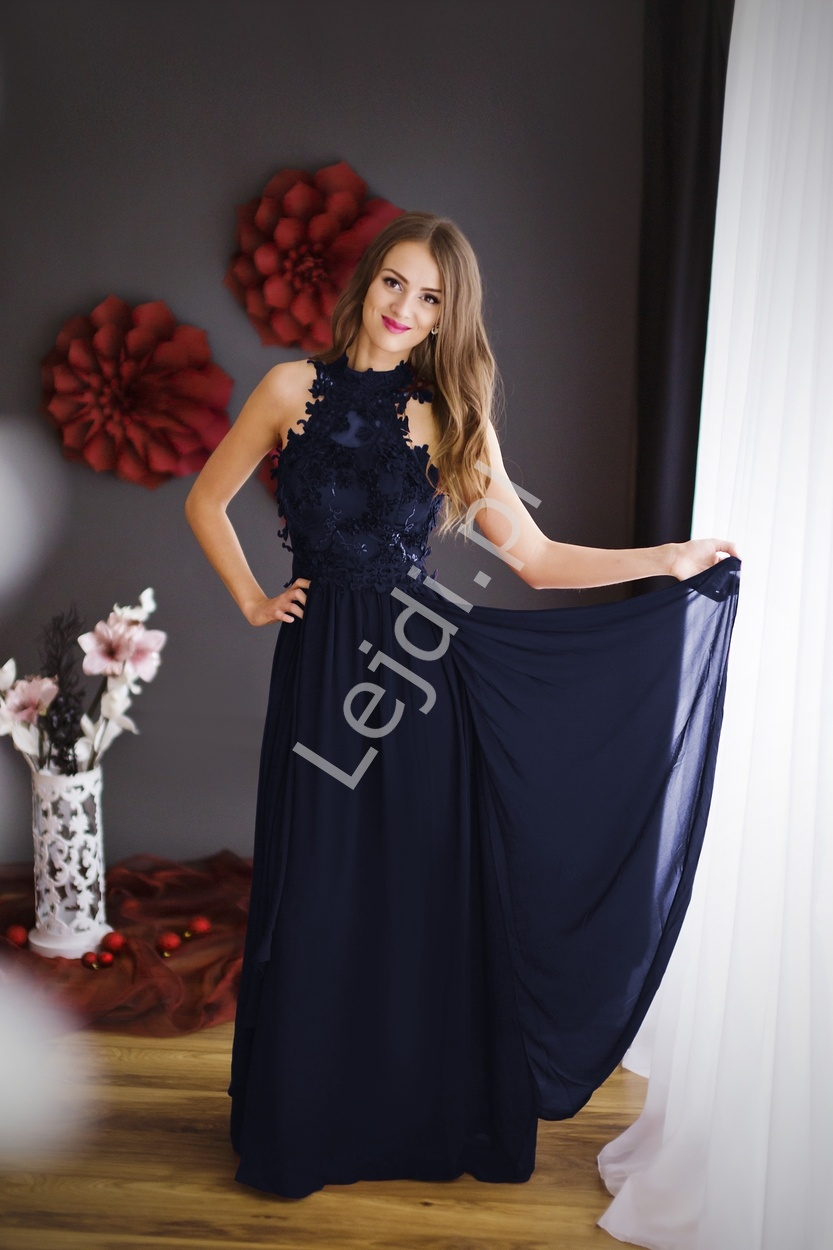 Grantowa długa suknia wieczorowa z kwiatami 3D | granatowe długie sukienki wieczorowe - Lejdi