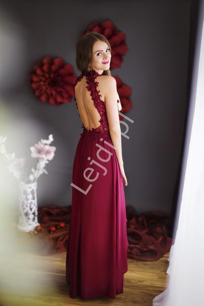 9c70412f75 Grantowa długa suknia wieczorowa z kwiatami 3D