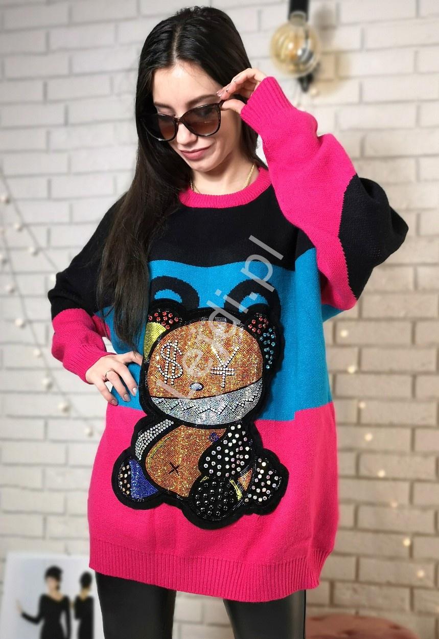 Gruby sweter luksusowy z kryształkowym misiem - Lejdi