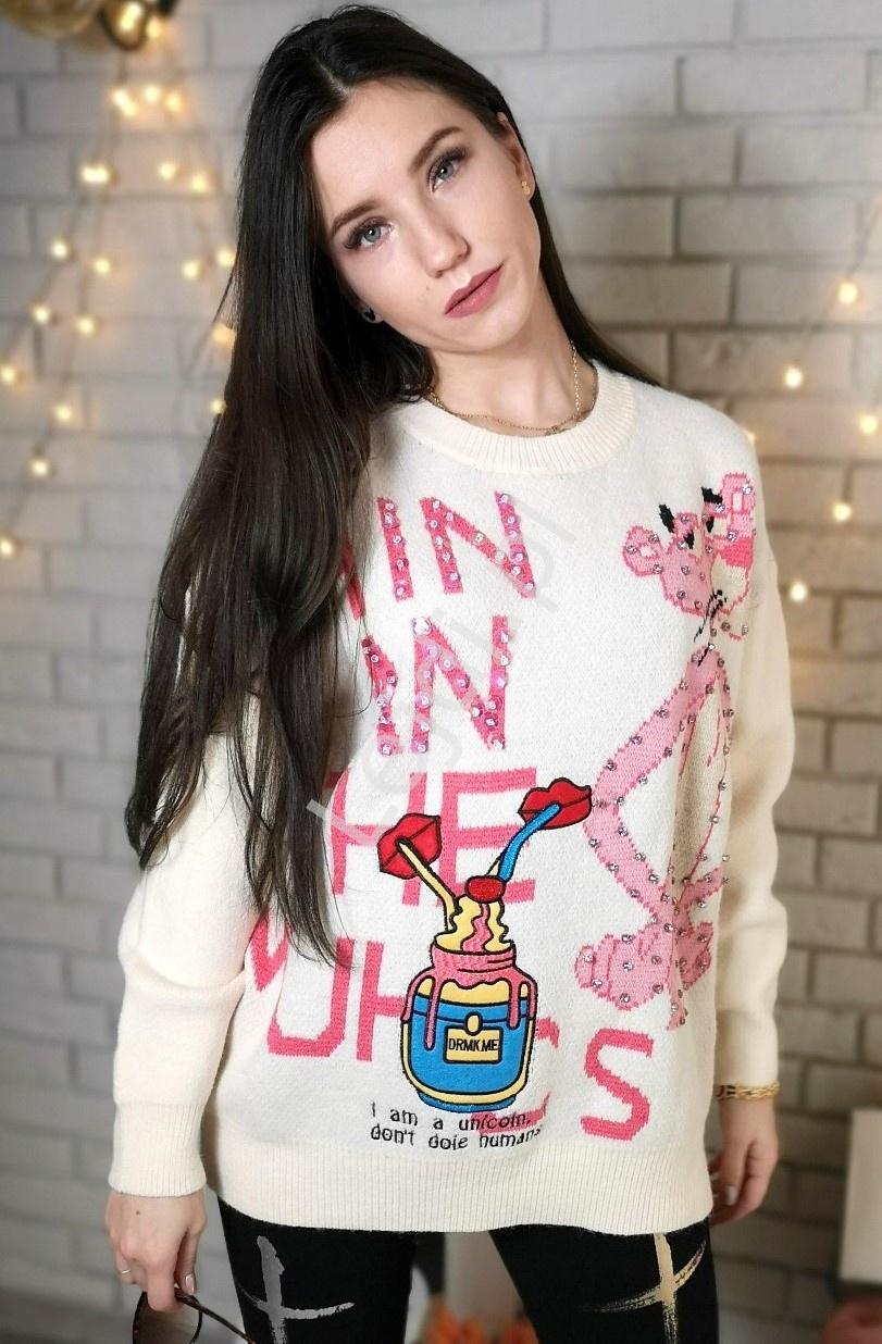 Gruby sweter z różową panterą, cartoon, aplikacja drink me, cyrkonie - Lejdi