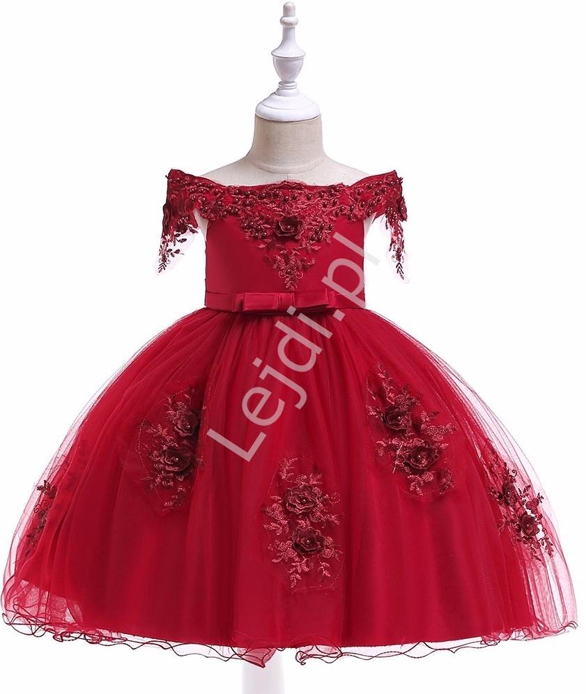 Hiszpanka suknia dla dziewczynki zdobiona koronką i kwiatami 3D 057 - Lejdi