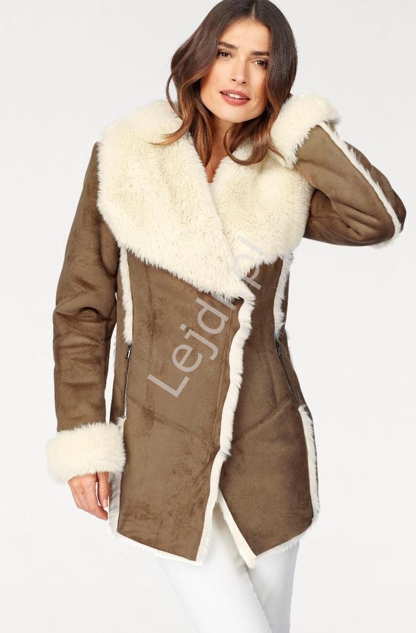 Imitacja kożucha damskiego z miłym futerkiem od środka, kurtka damska Laura Scott - Lejdi