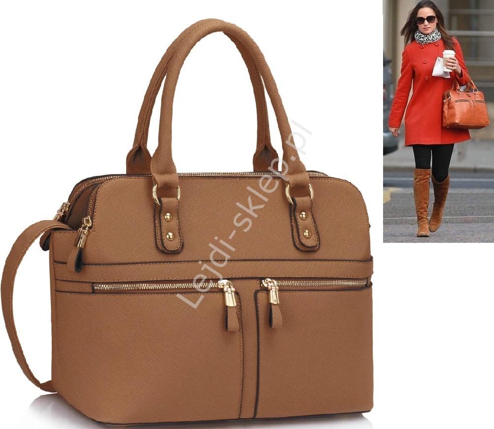 62cc0bcfcb081 Jasno brązowa torebka z kieszeniami w stylu Pippy Middleton - Lejdi.pl
