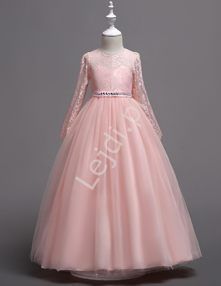 Jasno różowa długa suknia wieczorowa dla dziewczynki 023