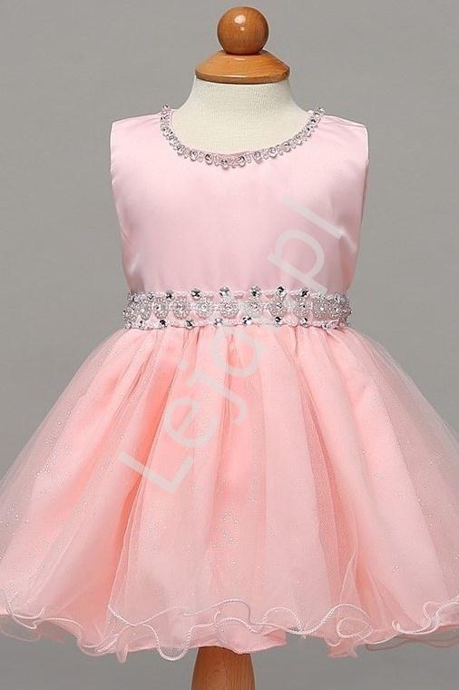 Jasno różowa sukienka dla dziewczynki na roczek, wesele, święta - Lejdi