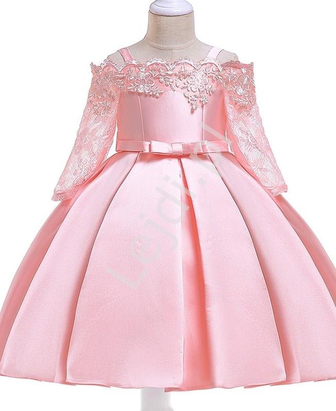 Jasno różowa sukienka dla dziewczynki z dekoltem ala Hiszpanka 083 - Lejdi