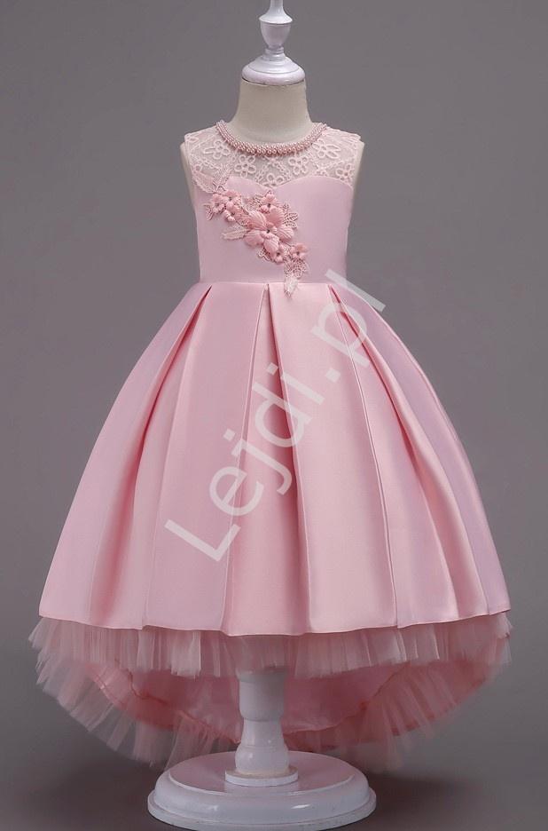 Jasno różowa sukienka dla dziewczynki z trenem na wesele 580 - Lejdi