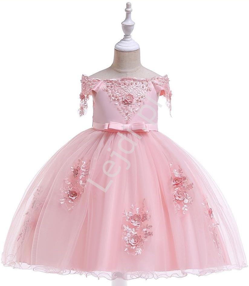 Jasno różowa sukienka dla dziewczynki, zdobiona jak dla małej królewny 057 - Lejdi
