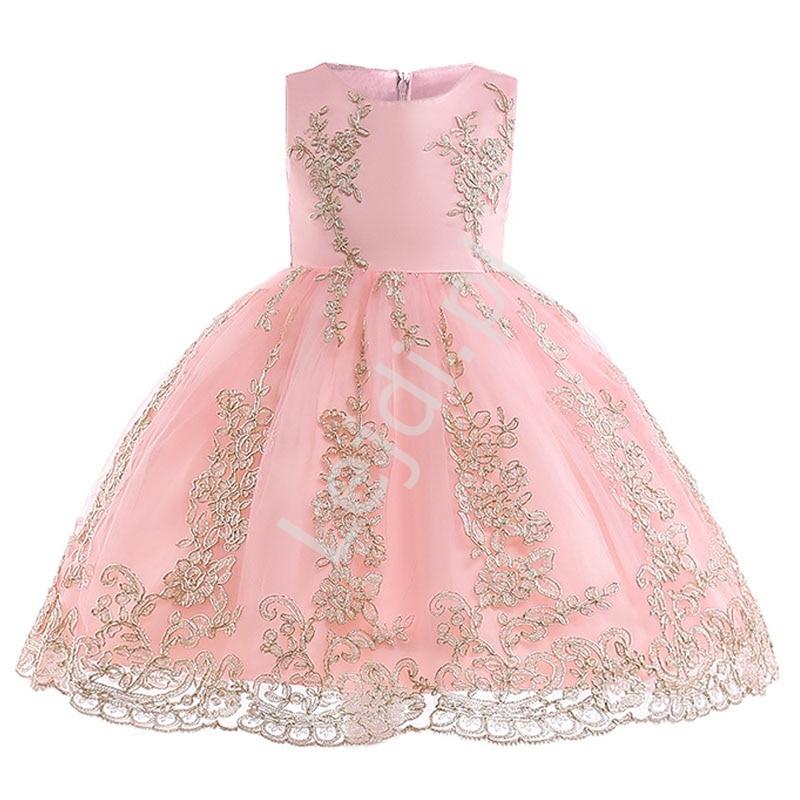 Jasno różowa sukienka dla dziewczynki ze złotym haftem - Lejdi