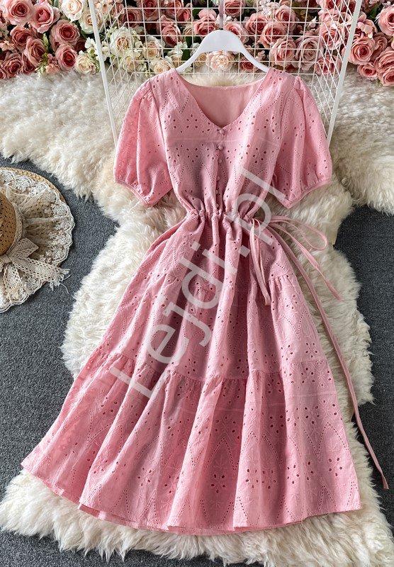 Jasno różowa sukienka letnia zdobiona angielskim haftem 1138 - Lejdi
