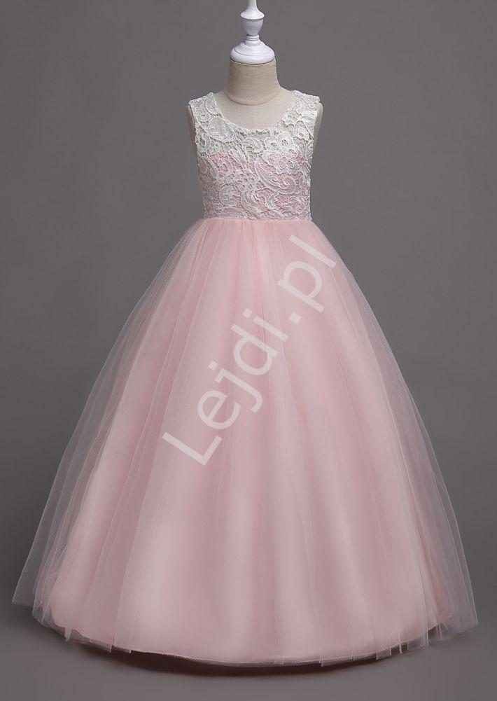 Jasno różowa sukienka tiulowa dla dziewczynki z białą koronką na dekolcie 007 - Lejdi