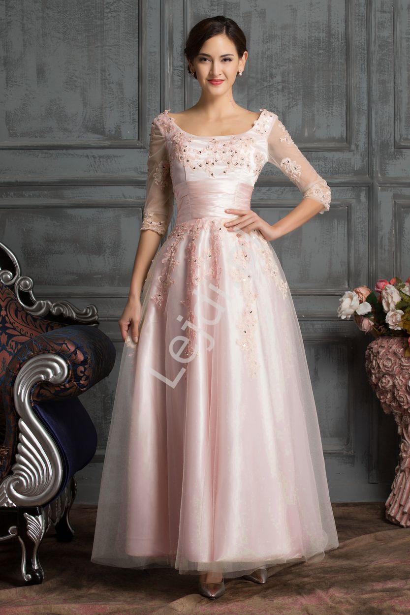 Jasno różowa sukienka tiulowa midi na wesele, studniówkę - Lejdi