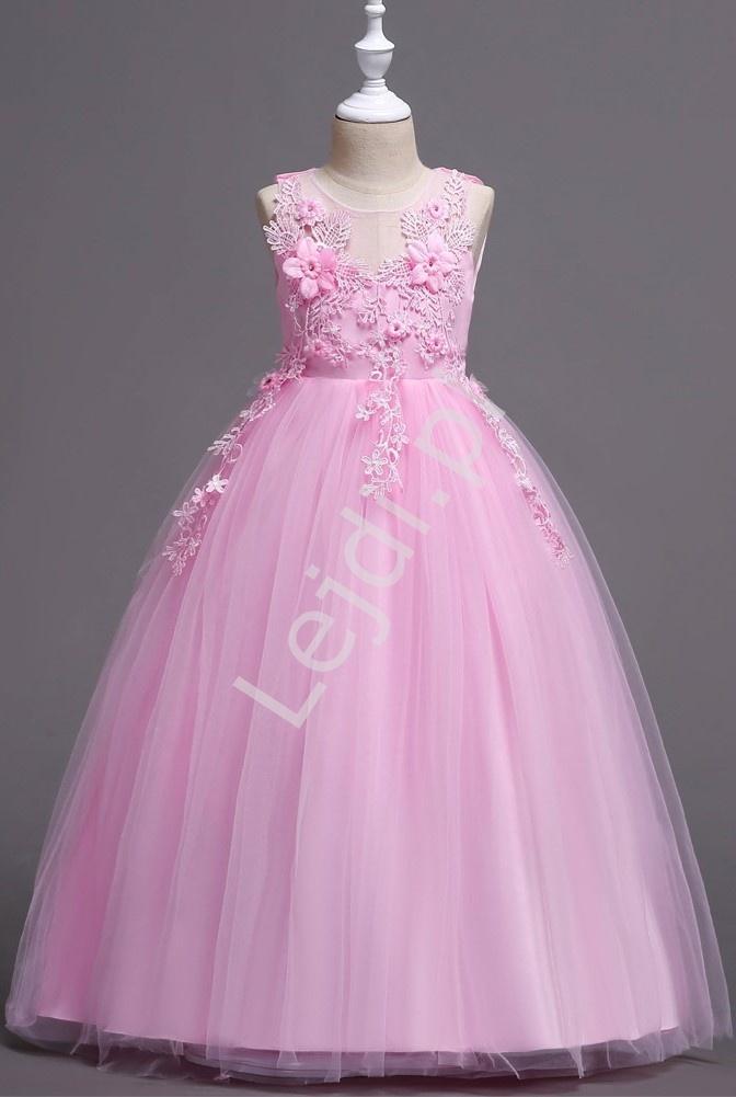 Jasno różowa suknia dla dziewczynki na wesele, bal 832 - Lejdi
