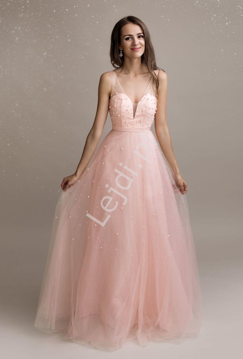 Jasno różowa suknia tiulowa z sztucznymi perłkami na tiulu 2193 - Lejdi