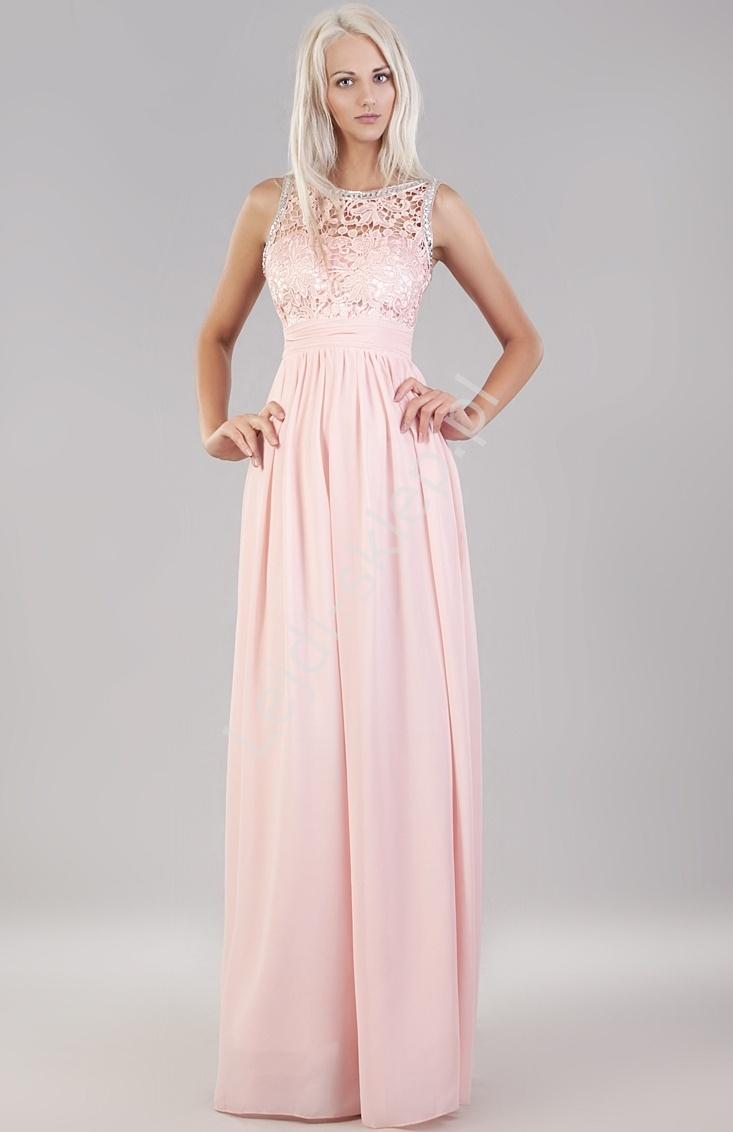 Jasno różowa suknia z kryształkami i gipiurową koronką - Lejdi