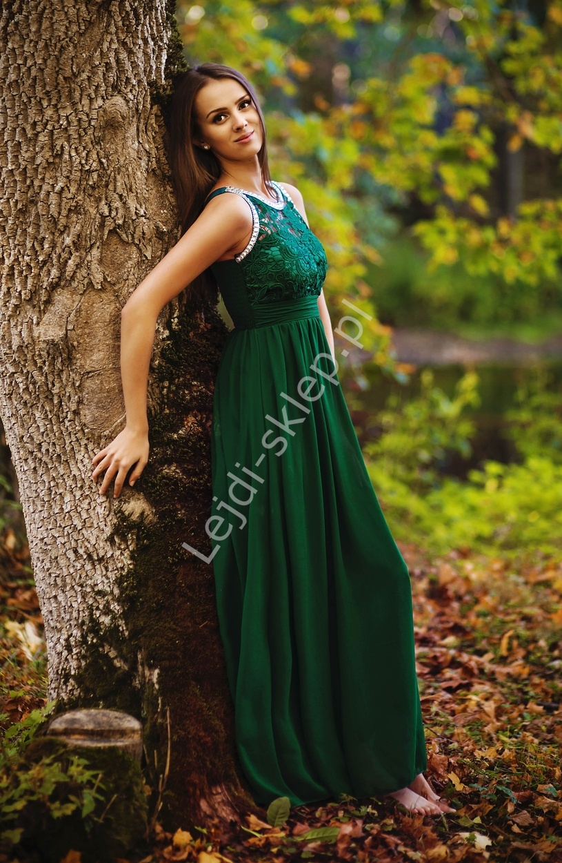 Zielona suknia z kryształkami i gipiurową koronką - Lejdi