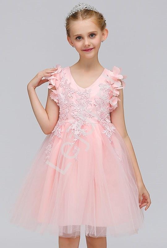 Jasno różowa tiulowa sukienka dla dziewczynki zdobiona gipiurową koronką - Lejdi