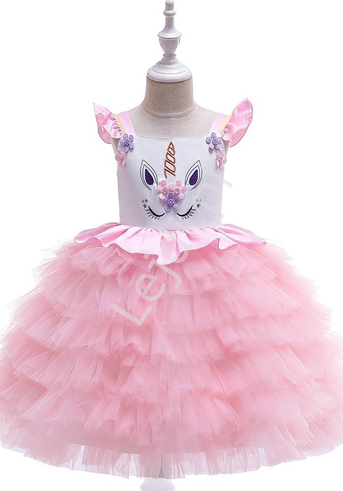 Jasno różowy jednorożec sukienka dla dziewczynki - Lejdi