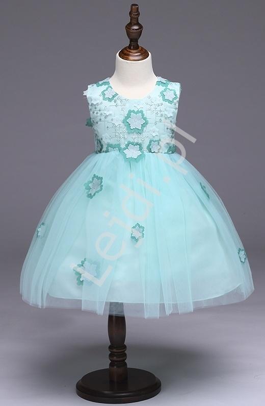 Jasno turkusowa sukienka tiulowa ozdobiona kwiatami dla dziewczynek - Lejdi