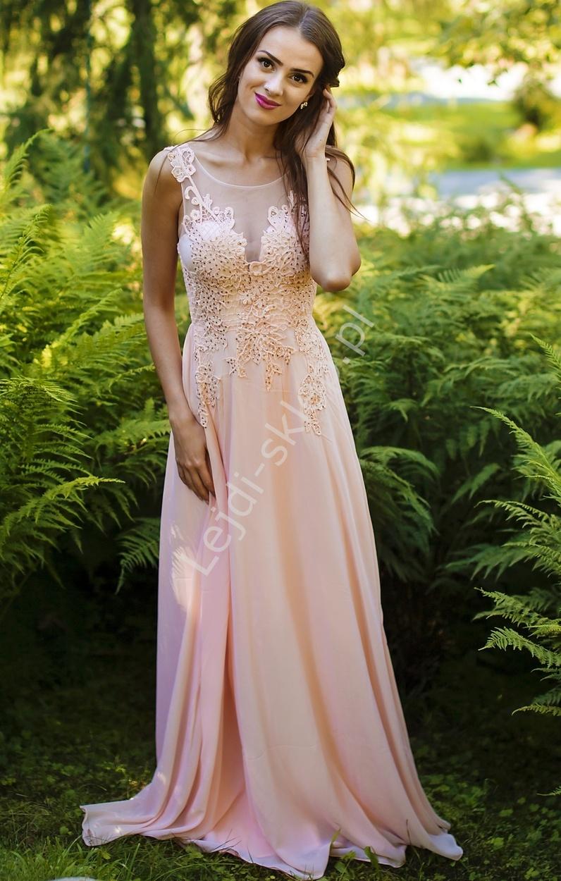 Jasnoróżowa długa suknia z cyrkoniami i haftami na tiulu - Lejdi