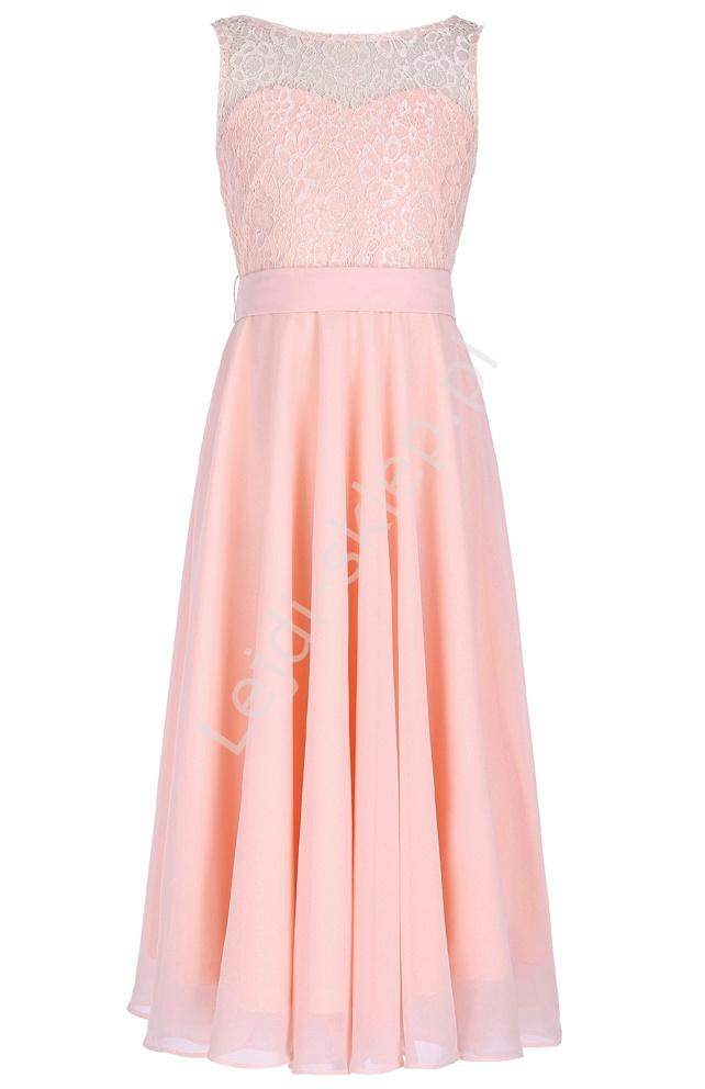 Jasnoróżowa elegancka skromna sukienka dla dziewczynki| eleganckie sukienki dziecięce - Lejdi