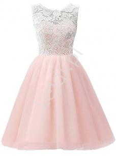 7ad9f35691 Jasnoróżowa sukienka szyfonowa z koronkową białą górą dla dziewczynek