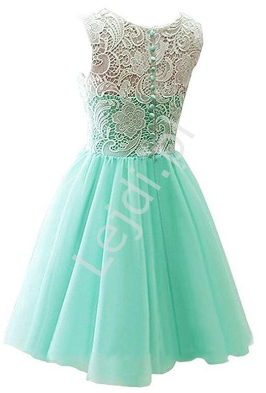 1d3b62f113f097 Jasnoróżowa sukienka szyfonowa z koronkową białą górą dla dziewczynek